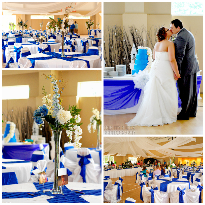 wedding flowers decor royal blue cream gym reception collage cake