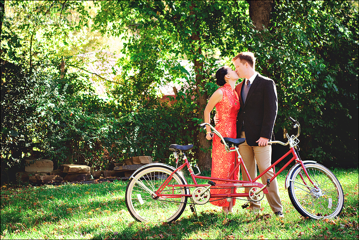Vintage Bicycle tandem Wedding Buffalo River