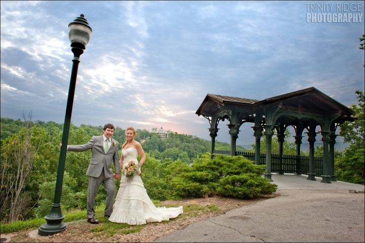 bride and groom wedding eureka springs arkansas overlook crescent hotel