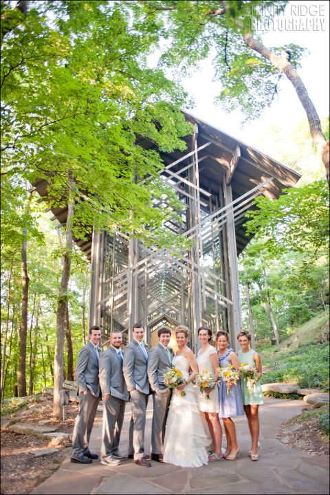 thorncrown chapel wedding eureka springs arkansas glass wedding party